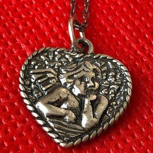 Shube Dacota West sterling Angel heart necklace
